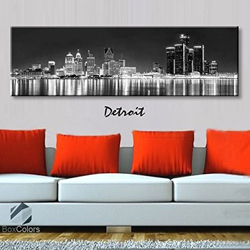 - Original by BoxColors Single panel 3 Size Options Art Canvas Print Detroit City Skyline Panoramic Downtown Night black & white Wall Home Office decor (framed 1.5