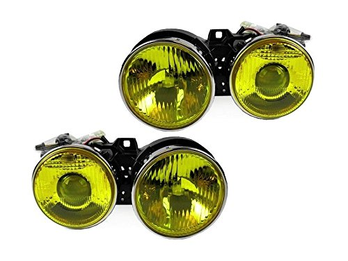 CPW (tm) Frenched French style Yellow Glass Euro Projector Smiley Headlights Set FOR 1984-1992 BMW E30 3-SERIES- 318is 325is 325i M3