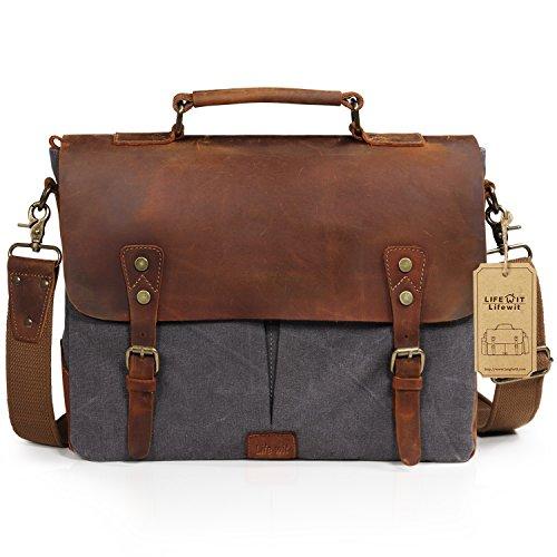 """Lifewit Leather Vintage Canvas Laptop Bag, 13""""(L)x10.5""""(H) x 4.1""""(W), Grey"""