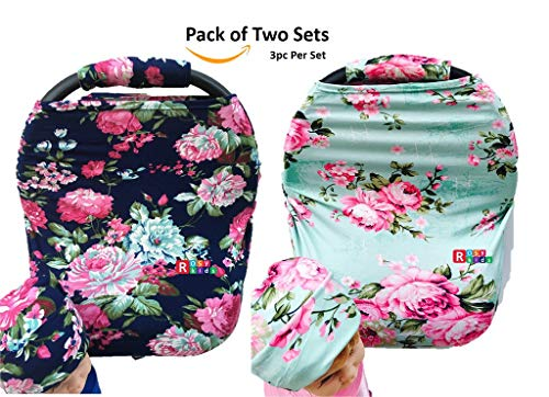 Rosy Kids Stretchy Infant Car Seat Canopy Cover, Jersey Elastic Nursing Scarf Privacy Cover with Matching Car Seat Handle Cover and Baby Hat, Pack of 2, ()