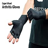 Copper Compression Arthritis Gloves - Best Copper Infused Fit Glove for Carpal Tunnel, Computer Typing, and Everyday Support Hands and Joints (Black, Large)