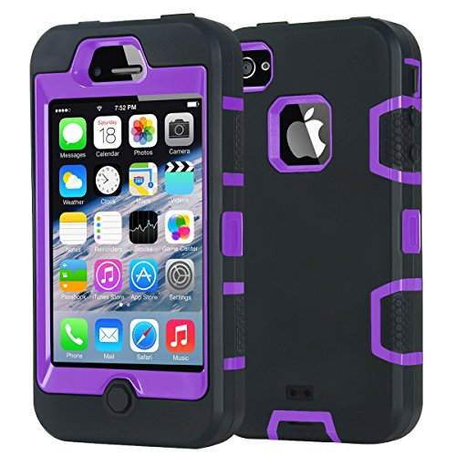 iPhone 4S Case,Shockproof Heavy Duty Combo Hybrid Defender High Impact Body Rugged Hard PC & Silicone Case Protective Cover for Apple iPhone 4 4S (Black Purple) (Purple Otterbox Iphone 4)