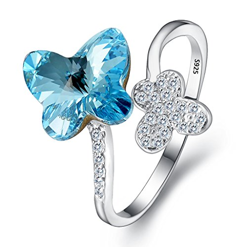 EleQueen 925 Sterling Silver CZ Butterfly Adjustable Cocktail Ring Aquamarine Color Made with Swarovski (Swarovski Butterfly Ring)