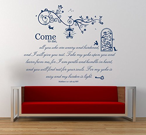Matthew 11 v 28-29 NIV Christian Bible Verse Quote, Vinyl Wall Art Sticker, Mural, Decal. Home, Church, School Decor. Dimensions of sticker: 47 1/4