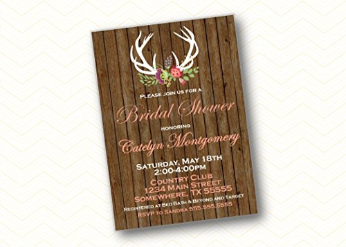 Floral Rustic Antler Bridal Shower Invitations. Wedding Shower Wood Invites with envelopes