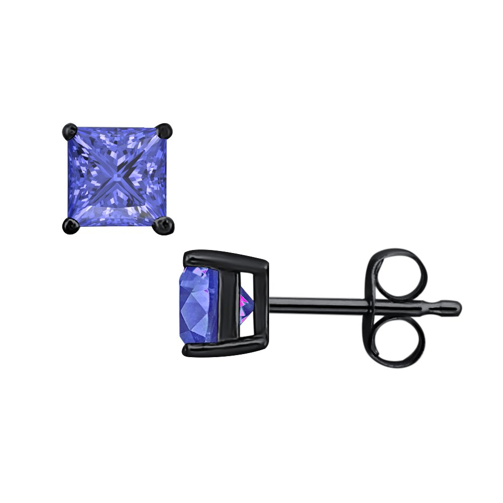 tusakha Fancy Party Wear Princess Cut Blue Tanzanite Solitaire Stud Earrings 14K Black Gold Over .925 Sterling Silver For Womens /& Girls 3MM TO 10MM