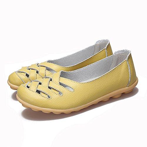 Fereshte Mocassino In Vera Pelle Ritaglio Mocassino Casual Scarpe Da Guida Pantofole Piatte Slip-on Verde Mela