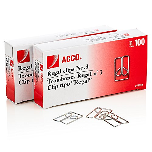 ACCO Regal Clips/Owl Clips, Smooth Finish, 3 Size, 100/Box, 2-Pack (200 Clips Total) (A7072152) (Owl Regal Paper Clips Acco)