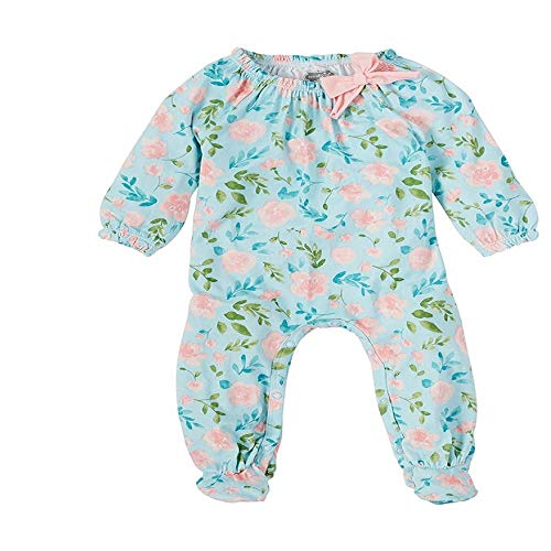 Mud Pie Baby Girl's Floral Sleeper (Infant) Blue 3-6 Months