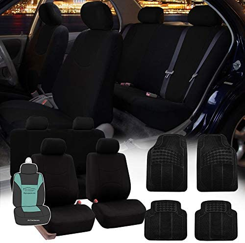FH Group FB051115 + R11305 Combo Set: Black Multi-Functional Flat Cloth Car Seat Covers, Airbag Compatible and Split Ready and Black Rubber Floor Mats