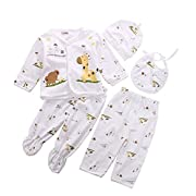 0-3M Newborn Baby Layette Set Cotton Clothes Tops Hat+Pants Suit 5 Pieces Sets (Yellow)