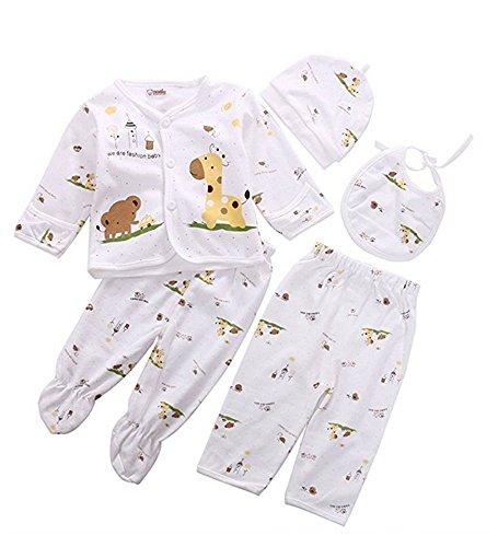 Infant Layette (0-3M Newborn Baby Layette Set Cotton Clothes Tops Hat+Pants Suit 5 Pieces Sets (Yellow))
