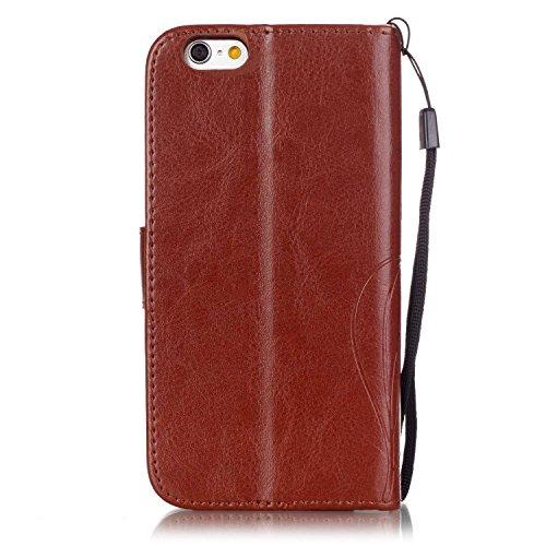 Single Side Motif gaufré Flower Case en cuir PU, résine Case Rhinestone livre design Strap Case Pliable Wallet Support Case pour Apple iPhone 6S 4,7 pouces ( Color : Brown )