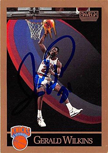 (Gerald Wilkins autographed Basketball Card (New York Knicks) 1990 Skybox #197)