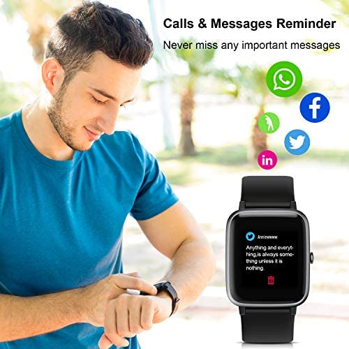 ANBES Health and Fitness Smartwatch with Heart Rate Monitor, Smart Watch for Home Fitness Tracking, Yoga, Exercise Bike, Treadmill Running, Compatible with iPhone and Android Phones for Women Men 51RFFyCc3VL