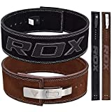 RDX Powerlifting Belt Lever Buckle Cow Hide Leather 10mm Single Prong Weight Lifting Crossfit Workout Gym Fitness Exercise Bodybuilding
