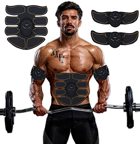 SPORTMAO Abs Stimulator Ultimate Abs Stimulator Ab Stimulator Abs Stimulator Men Toning Belt EMS ABS Toner Fitness Equipment Abdomen/Arm/Leg Training Slimming Body Pad Abdominal (Yellow Edge)
