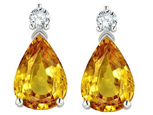 - Star K 8x6mm Pear Shape Genuine Citrine Classic Drop Earring Studs 14 kt White Gold