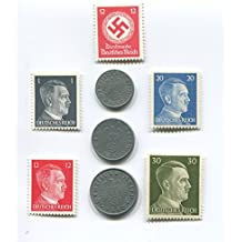 Super Premium Nazi World War Two WW2 German Coin Swastika Coins and Hitler Stamp Set / Collection
