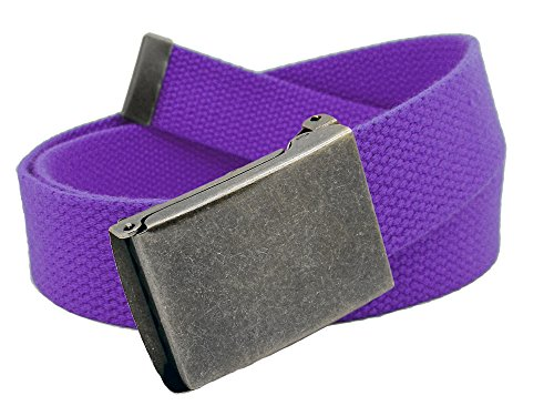 Boys School Uniform Distressed Silver Flip Top Military Belt Buckle with Canvas Web Belt Large Purple