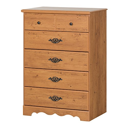 (South Shore Prairie 5-Drawer Dresser, Country Pine with Metal Handles and Knobs)