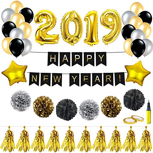 New Year Balloons Kit Decorations - 32 Inch 2019 Foil Balloon Happy New Year Banner Tassel Gold Black Silver Paper Poms Latex Balloon with Air Pump, Gift for Graduation Party Favors New Year Eve Decor