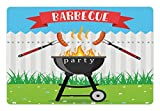 Lunarable BBQ Party Pet Mat for Food and Water, Kitchen Utensils Roasting Sausage over the Fire Backyard Cooking Party Theme, Rectangle Non-Slip Rubber Mat for Dogs and Cats, Multicolor