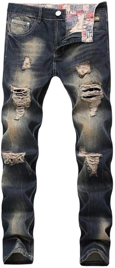 Loeay Hombres con Estilo Pantalones Vaqueros Biker Skinny Slim Straight Hombres Vintage Hole Jeans Pantalones de Moda Hombre Slim Denim Pants Plus