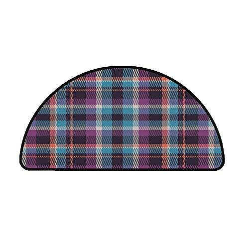 Checkered Comfortable Semicircle Mat,Celtic Tartan Irish Culture Scotland Country Antique Tradition Tile Decorative for Living Room,33.4