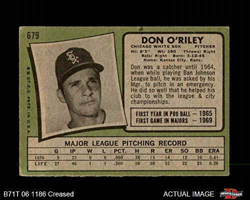 Amazon.com: 1971 Topps # 679 Don ORiley Chicago White Sox (Baseball Card) Deans Cards 3 - VG White Sox: Collectibles & Fine Art
