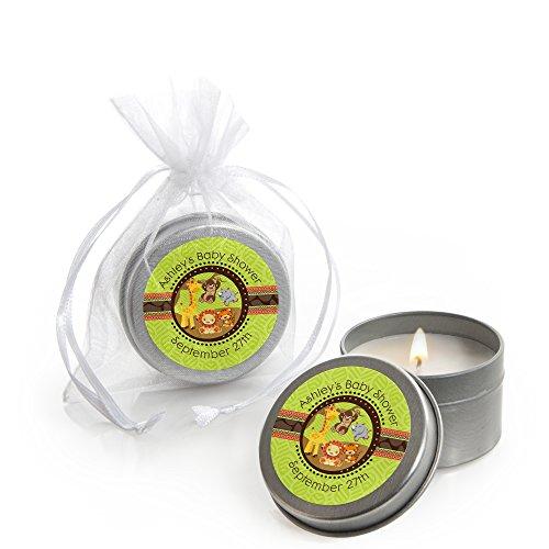 (Custom Funfari - Fun Safari Jungle - Personalized Candle Tins Baby Shower Favors - Set of 12)