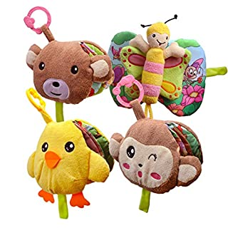 Top Right Toys 4 Baby Cloth Crinkle Books for Newborns and Babies First Year Soft Toy Book Set