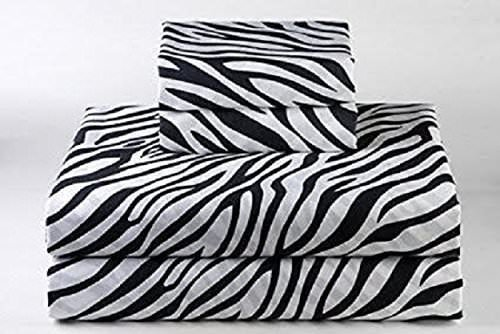 4 Piece Bed Sheets Set 32X75 inch RV Bunk Zebra Print 400 Thread Count 100% Cotton,Long-Staple Combed Pure Natural Cotton Bedsheets, Soft & Silky Sateen Weave