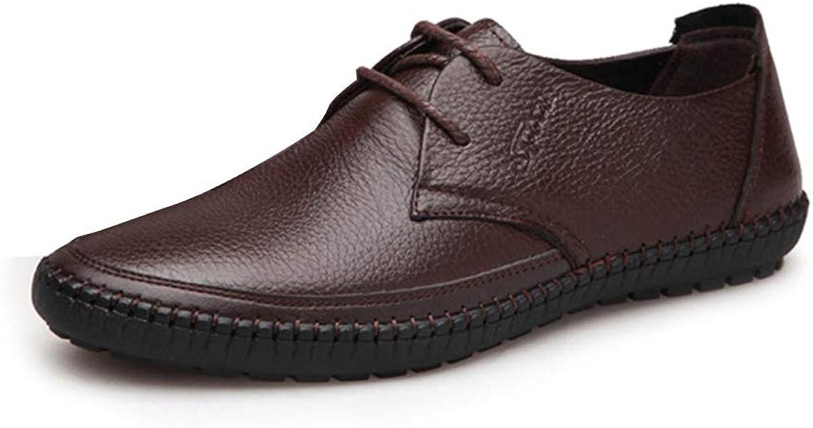 3088b2be1745 Chaussure de Marche de la Ville en Cuir Basse Plate pour Homme a Lacet Chaussure  de Travail au Loisir Léger Souple