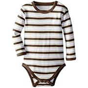 L'ovedbaby Unisex-Baby Newborn Organic Long Sleeve Bodysuit, Bark Stripe, 6/9 Months