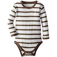 L'ovedbaby Unisex-Baby Newborn Organic Long Sleeve Bodysuit, Bark Stripe, 6/9...