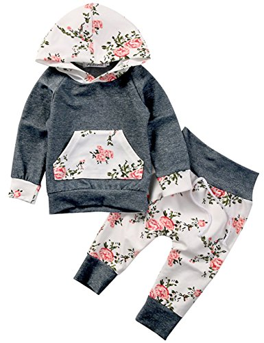 Baby Girls Long Sleeve Flowers Hoodie Top and Pants Outfit with Kangroo Pocket (70(0-6M), (Cute Baby Girl Outfits)