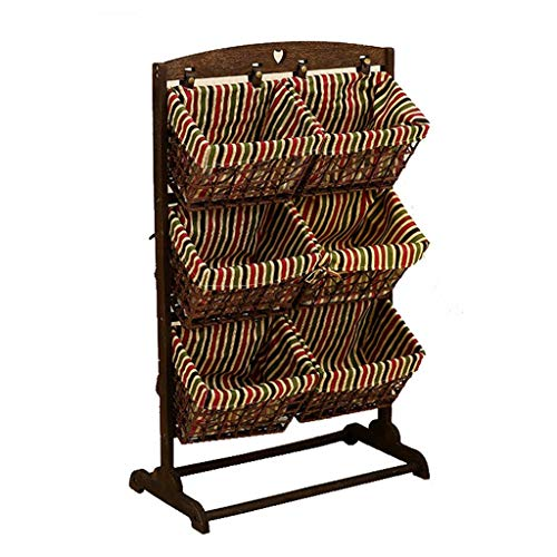 Hty zwj Wooden Storage Basket, Multi-Function Rack Floor Debris Storage Rack Bedroom/Living Room Multi-Layer Rattan Storage Rack Books and Magazines (Color : C) -