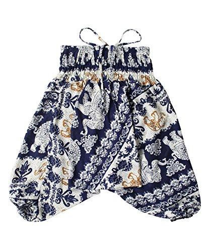 Lofbaz Kids Harem Thai Aladdin Pirate Children Pants Bohemian Baggy Hippy Child - Elephant 21 Dark Blue - 4-5Y -
