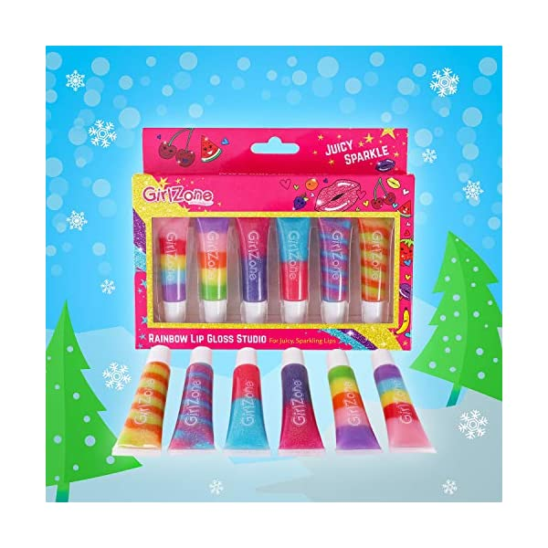GirlZone Rainbow Fruity Lip Gloss Makeup Set for Kids and Girls, Great Birthday Gifts For Girls 4