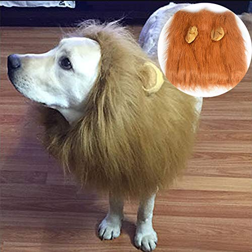 (MiLuck Promotion!!! Lion Mane Wig for Dog and Cat Costume with Ears Pet Adjustable Comfortable Fancy for Christmas Easter Festival Party Activity(Dog-Light)