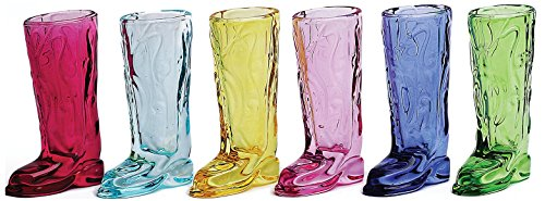 Circleware Kickback Assorted Colors Cowboy Boot Shot Glasses, Set of 6, 1.5 oz.