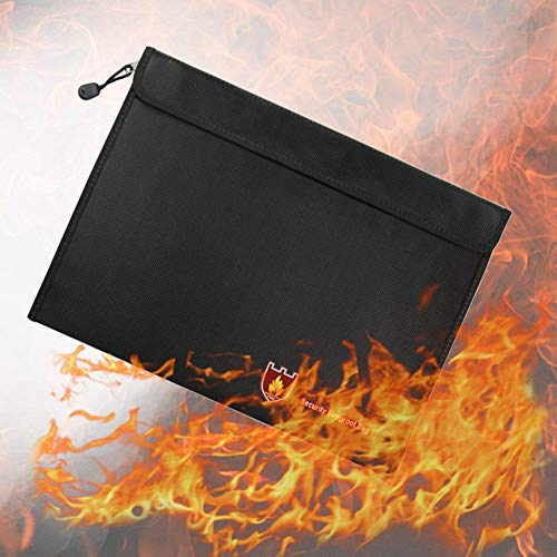 US-PopTrading Fireproof Document Bag, High Temperature Double Sided Fireproof Safe Storage Pouch File Bag,Water Dust Resistant Pouch Zipper Organizer Case for Money,Passport,Jewelry Black by US-PopTrading (Image #3)