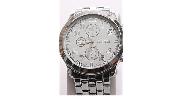 Chanel 5chance - Reloj para hombres, correa de metal color plateado: Amazon.es: Relojes