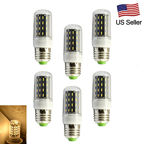 RCLITE 6pcs E27 6W 350LM Bulb 56SMD 4014 Cover LED Corn Light,50 Watts Replacement Incandescent Bulbs,Warm White