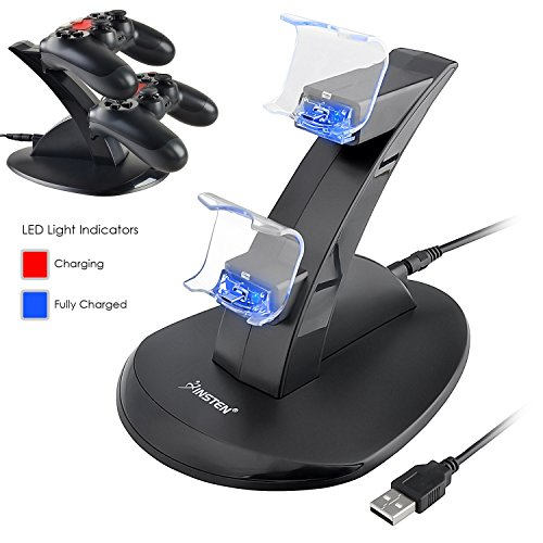 Insten Dual USB Stand Charger Charging Station Compatible with Sony PlayStation 4 (PS4) Controller, Black