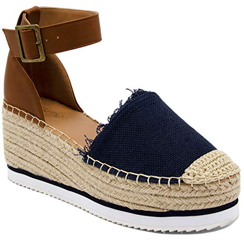 (Nautica Women's Espadrille Mid Wedge Sandals with Fashion Buckle-Valeria Mid-Navy-9)