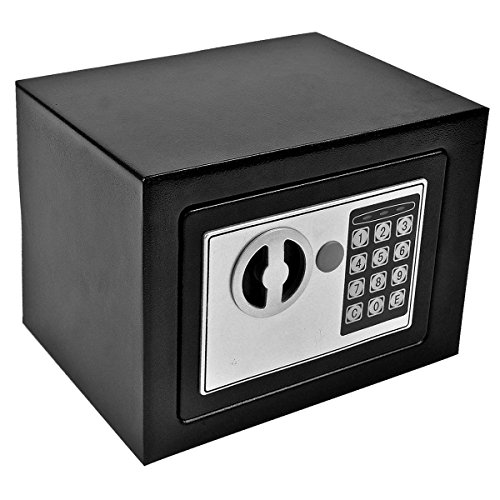 GHP 8.9'' X 6.5'' X 6.5'' Black Solid Steel Digital Electronic Small Safe Box by Globe Warehouse (Image #3)
