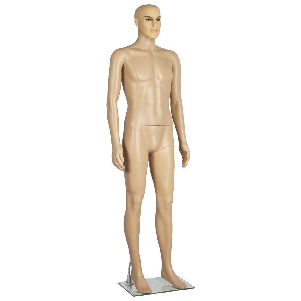 Yaheetech 72in Adjustable Male Mannequin Realistic Make-up Manikin Plastic Full Body Dress Form with Glass Base by Yaheetech