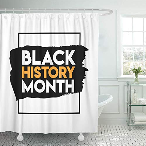 Emvency Shower Curtain Brown Stage Black History Month Design White Africa Shower Curtains Sets with Hooks 72 x 78 Inches Waterproof Polyester Fabric -